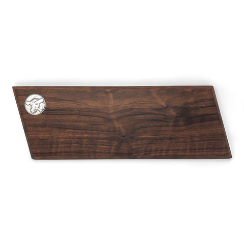Handcrafted 16-inch Walnut Wood Baguette Cutting Board with Pewter Cow Medallion
