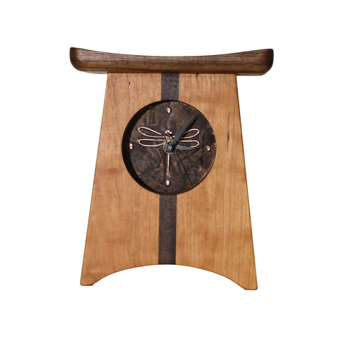 Sabbath-Day Woods East of Appalachia Mantel Clock, Bronze Dragonfly Face, Handmade in The USA