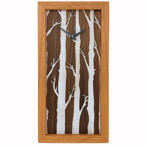 Sabbath-Day Woods White Birches Tall Cherry Box Clock