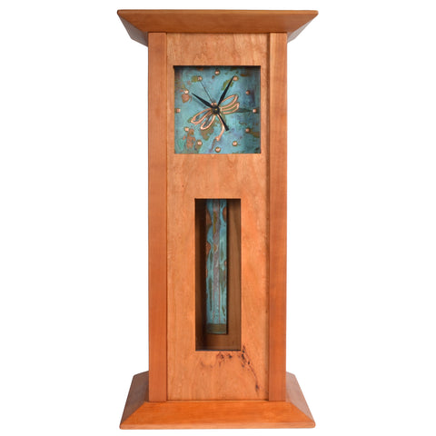Sabbath-Day Woods Imperial Dragonfly Handmade Cherry Wood Mantel Clock with Hidden Jewelry Compartment