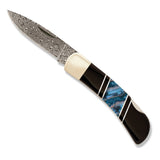 Santa Fe Stoneworks Blue Woolly Mammoth & Jet Damascus 3-inch Lockback Pocket Knife