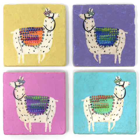 Studio Vertu Pastel Llamas Marble Coasters, Set of 4