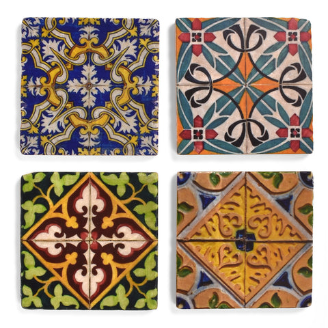 Studio Vertu Spanish Tiles Tumbled Marble Coasters, Set of 4