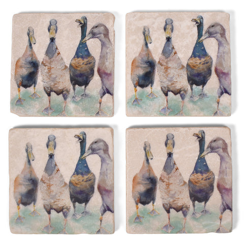Studio Vertu Watercolor Ducks Tumbled Marble Coasters, Set of 4