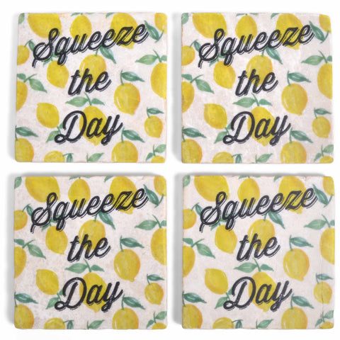 Studio Vertu Squeeze the Day Lemons Marble Coasters, Set of 4