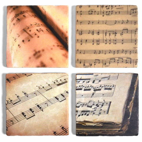 Studio Vertu Sheet Music Tumbled Marble Coasters, Set of 4