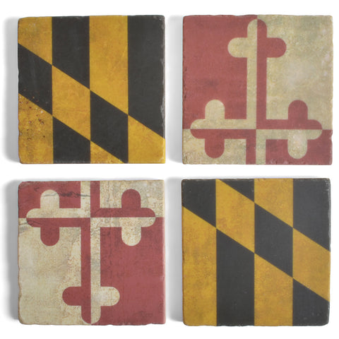 Antiqued Maryland Flag Tumbled Marble Coasters, Set of 4