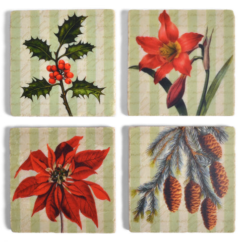 Studio Vertu Holiday Botanicals Marble Coasters, Set of 4