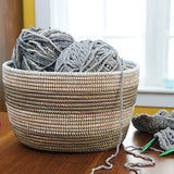 African Fair Trade Handwoven Striped Oval Knitting Basket, Silver/White
