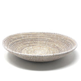 African Fair Trade 16-inch Round Centerpiece Basket, White