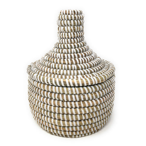 African Fair Trade Handwoven Miniature Warming Basket, White