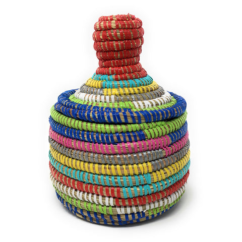 African Fair Trade Handwoven Miniature Warming Basket, Rainbow Stripes