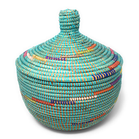 African Fair Trade Handwoven Lidded Warming Basket, Prism/Multi