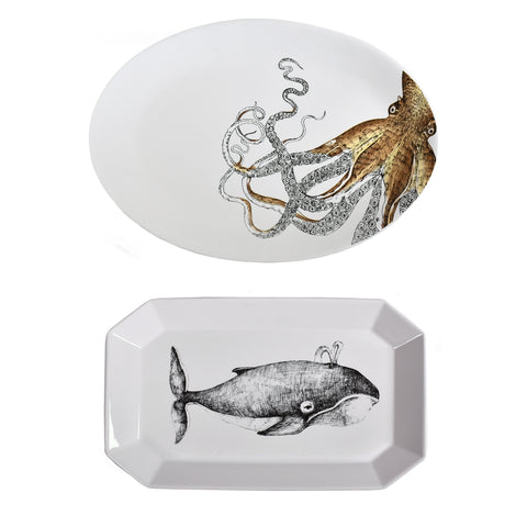 Sea Creatures Ceramic Platters, Octopus and Whale, 2-piece Set