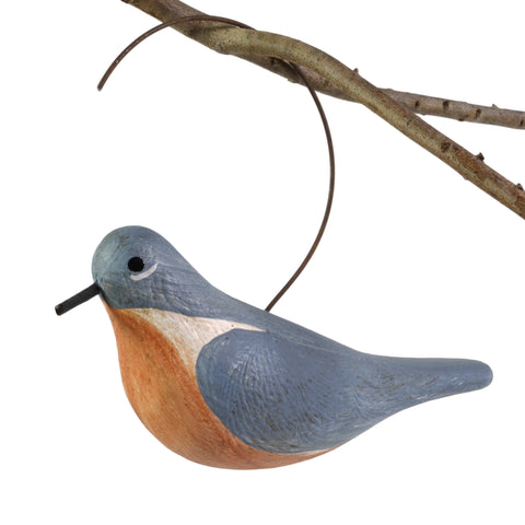 The Painted Bird by Richard Morgan Carved Bluebird Hanging Decoy Ornament - The Barrington Garage
