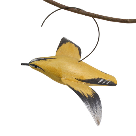 The Painted Bird by Richard Morgan Carved Goldfinch Hanging Decoy Ornament - The Barrington Garage