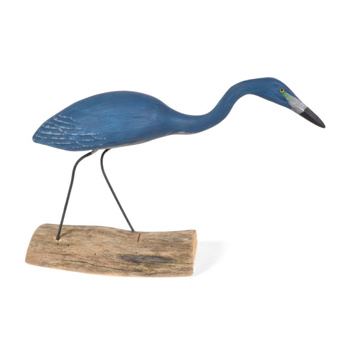 The Painted Bird by Richard Morgan Carved Blue Heron Figurine, Hunting