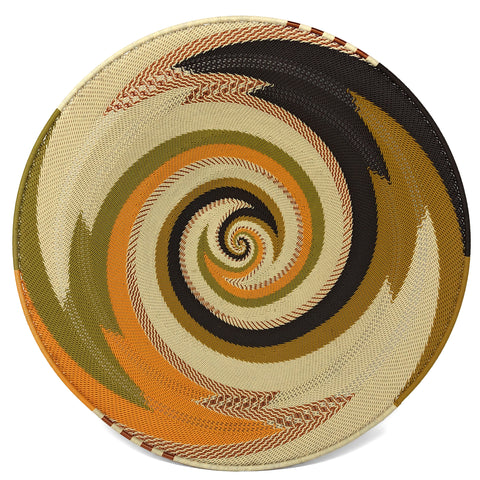 Fair Trade Zulu Telephone Wire 16-inch Platter Basket, African Earth