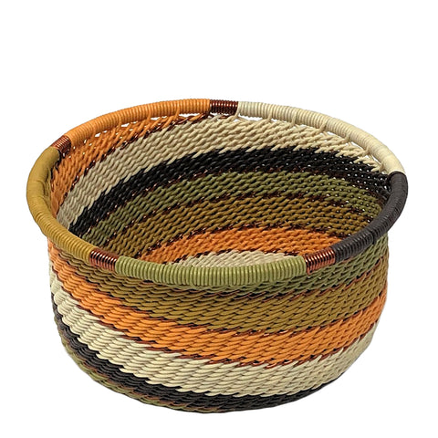 Fair Trade Zulu Telephone Wire 3.5-inch Catch-All Caddy/Wine Bottle Coaster, African Earth