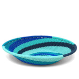 African Fair Trade Zulu Telephone Wire 5.5-inch Small Oval Basket, African Ocean
