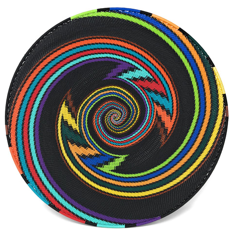 Fair Trade Zulu Telephone Wire 16-inch Platter Basket, African Rainbow