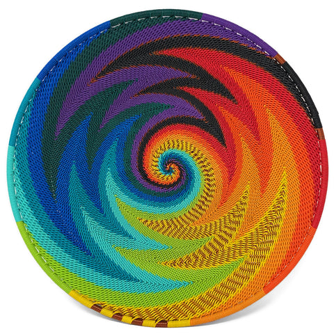 Fair Trade Zulu Telephone Wire 8-inch Platter Basket, African Spirit