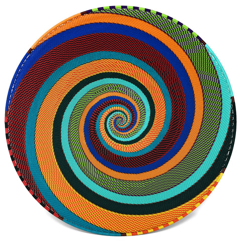 Fair Trade Zulu Telephone Wire 16-inch Platter Basket, African Spirit