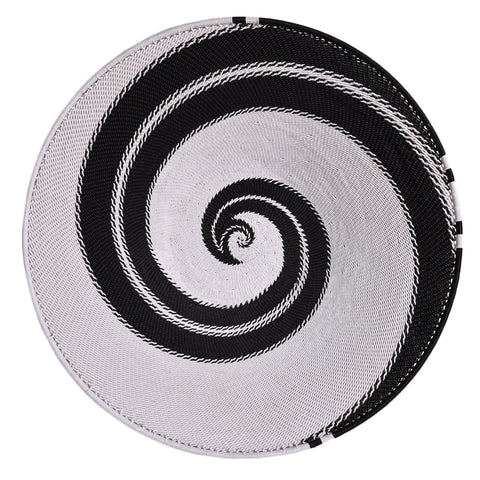 Fair Trade Zulu Telephone Wire 12-inch Platter Basket, Simple Swirl Pattern, African Eclipse