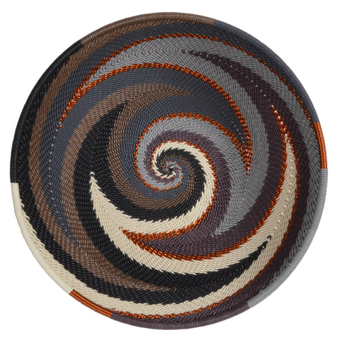 Fair Trade Zulu Telephone Wire 6.5-inch Round Bowl, Gray Mist