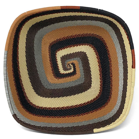 African Fair Trade Zulu Telephone Wire 6.5-inch Square Bowl, Mocha