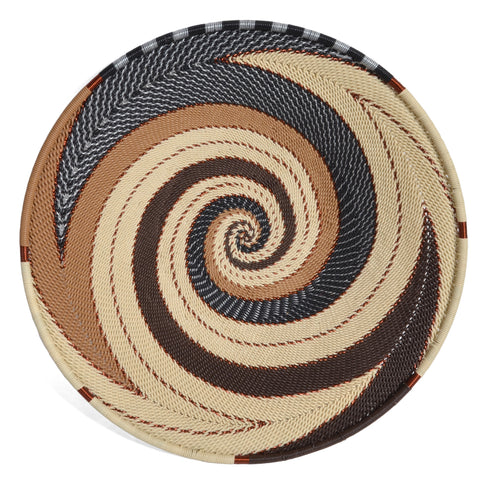 Fair Trade Zulu Telephone Wire 9-inch Platter Basket, Mocha