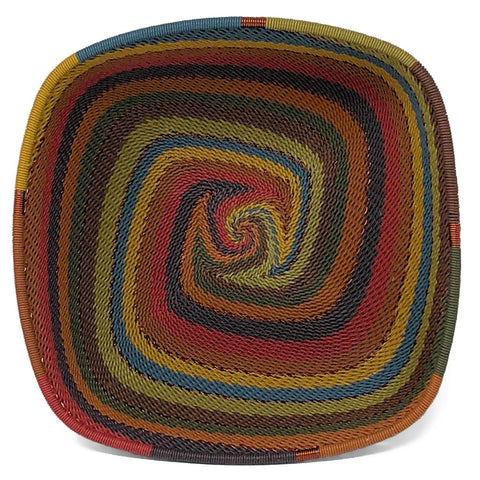 African Fair Trade Zulu Telephone Wire 6.5-inch Square Bowl, Painted Desert