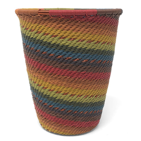 African Fair Trade Zulu Telephone Wire 4.5-inch Pen/Pencil Cup, Painted Desert