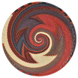 Fair Trade Zulu Telephone Wire 8-inch Platter Basket, Red Pepper