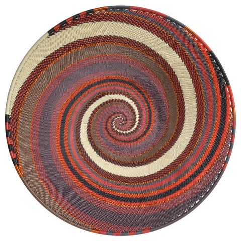 Fair Trade Zulu Telephone Wire 16-inch Platter Basket, Red Pepper