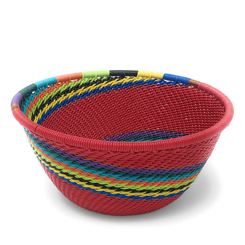 African Fair Trade Zulu Telephone Wire 4.5-inch Small Round Bowl, Red Rainbow