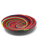 Fair Trade Zulu Telephone Wire 16-inch Platter Basket, Red Rainbow