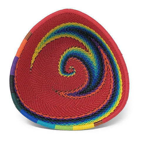 African Fair Trade Zulu Telephone Wire 4.5-inch Small Triangle Basket, Red Rainbow