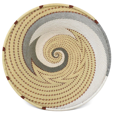 Fair Trade Zulu Telephone Wire 9-inch Platter Basket, Each One Unique, Silver Sea