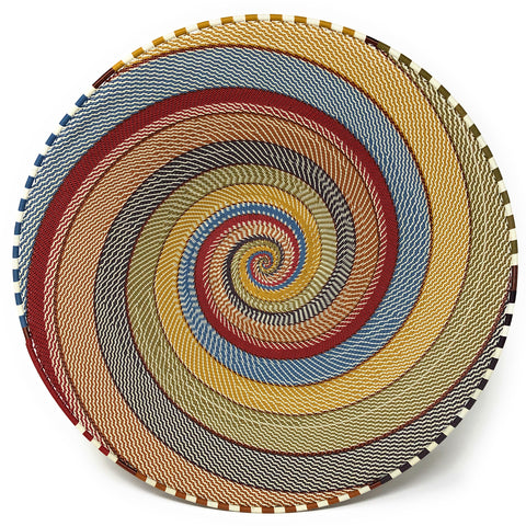 Fair Trade Zulu Telephone Wire 16-inch Platter Basket, Intricate Swirl Pattern, White Desert