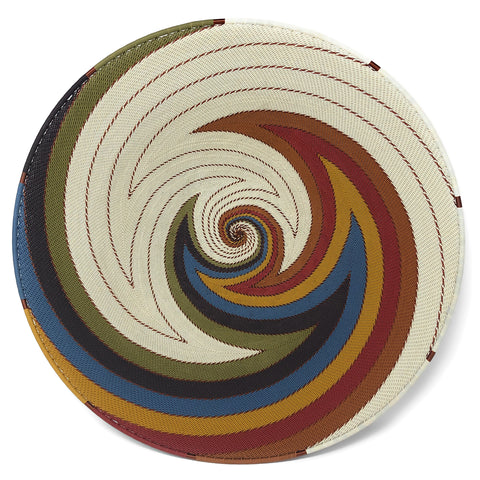 Fair Trade Zulu Telephone Wire 16-inch Platter Basket, White Desert