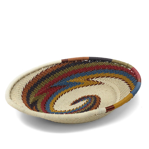 African Fair Trade Zulu Telephone Wire 5.5-inch Oval Basket, White Desert