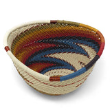 African Fair Trade Zulu Telephone Wire 4.5-inch Small Triangle Basket, White Desert