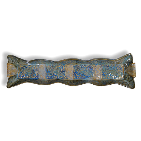 Terry Acker Pottery 14-inch Cracker Tray with Leaf Motif