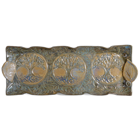 Terry Acker Pottery 14x5-inch Tree of Life Tray, Blue/Multi