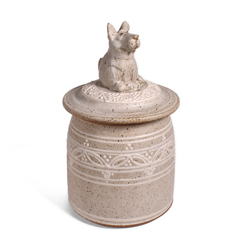 The Potters, LTD Handmade Dog Urn / Treat Jar, Stony
