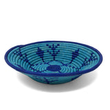 African Fair Trade Handwoven Coiled Raffia Basket, Blue Meadow