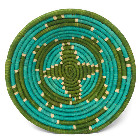 African Fair Trade Handwoven Raffia Basket, Green and Teal, Medium