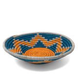 African Fair Trade Handwoven Raffia Basket, Blue and Orange