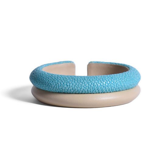 VIVO Shagreen and Leather Flexible Cuff Bracelet, Turquoise/Beige